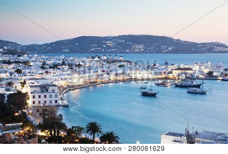 beautiful twilight over Mykonos town  Mykonos island,  Cyclades archipelago,  Greece