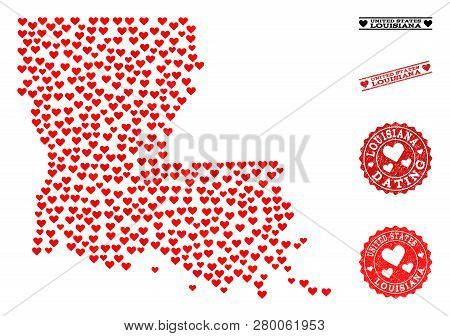 Collage Map Of Louisiana State Composed With Red Love Hearts, And Grunge Stamp Seals For Dating. Vec