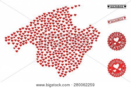 Collage Map Of Majorca Formed With Red Love Hearts, And Rubber Watermarks For Valentines Day. Vector