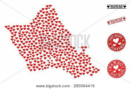 Collage Map Of Oahu Island Composed With Red Love Hearts, And Grunge Stamp Seals For Dating. Vector