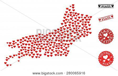 Mosaic Map Of Piaui State Formed With Red Love Hearts, And Rubber Watermarks For Dating. Vector Love