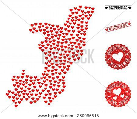 Mosaic Map Of Republic Of The Congo Composed With Red Love Hearts, And Grunge Watermarks For Dating.