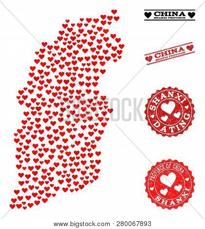 Collage Map Of Shanxi Province Created With Red Love Hearts, And Grunge Watermarks For Dating. Vecto