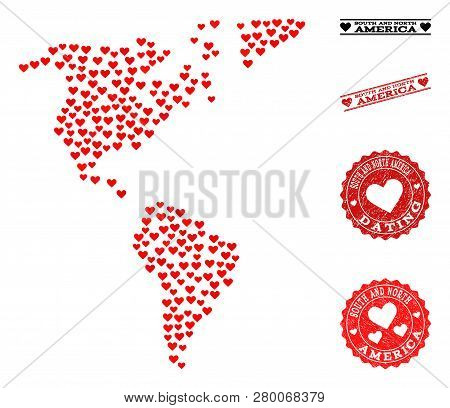 Mosaic Map Of South And North America Created With Red Love Hearts, And Grunge Stamp Seals For Datin