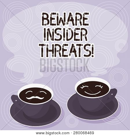 Text sign showing Beware Insider Threats. Conceptual photo Be cautious on malicious attack inside the network Sets of Cup Saucer for His and Hers Coffee Face icon with Blank Steam. poster