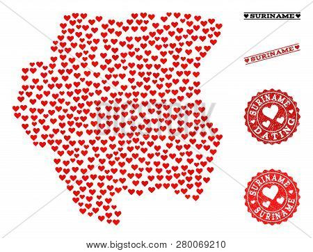 Mosaic Map Of Suriname Designed With Red Love Hearts, And Rubber Stamp Seals For Dating. Vector Love