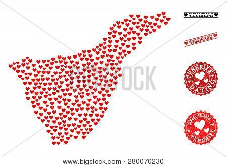 Collage Map Of Tenerife Island Formed With Red Love Hearts, And Grunge Stamp Seals For Dating. Vecto