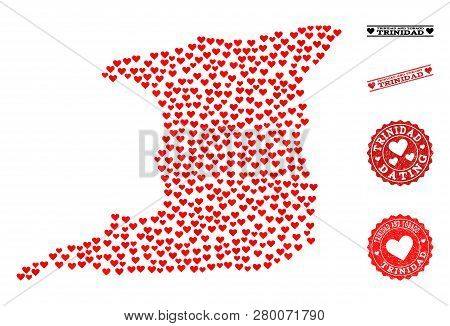 Mosaic Map Of Trinidad Island Designed With Red Love Hearts, And Rubber Watermarks For Dating. Vecto