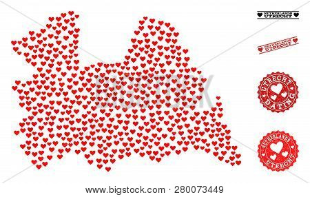 Collage Map Of Utrecht Province Designed With Red Love Hearts, And Rubber Stamp Seals For Dating. Ve