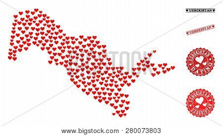 Collage Map Of Uzbekistan Formed With Red Love Hearts, And Grunge Watermarks For Dating. Vector Love
