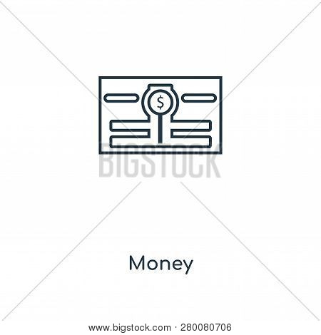 Money Icon In Trendy Design Style. Money Icon Isolated On White Background. Money Vector Icon Simple
