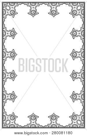 Medieval Manuscript Style Rectangular Frame. Vertical Orientation. Black Drawing Isolated On White B