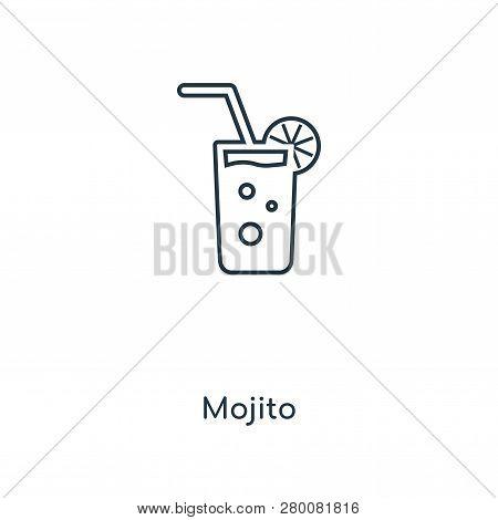 Mojito Icon In Trendy Design Style. Mojito Icon Isolated On White Background. Mojito Vector Icon Sim