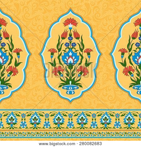 Traditional Islamic Ornate Floral Background, Seamless Pattern