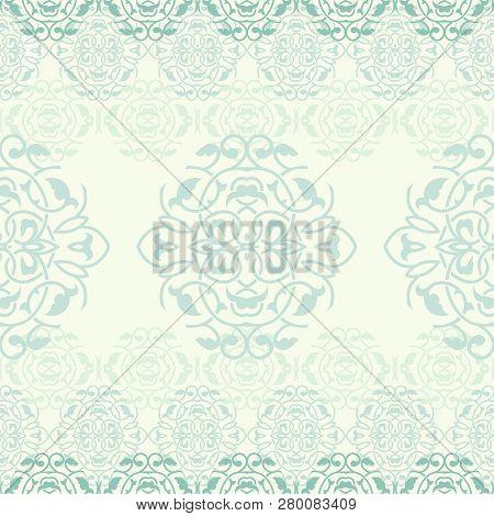 Ornate Arabesques Ornamental Background, Vector Seamless Pattern