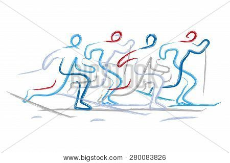 Cross Country Skiers. Illustration Of Four  Cross Country Ski Racers, Expressive Line Art Stylized.