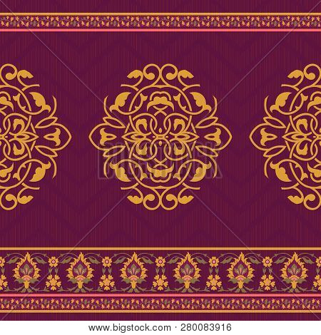 Textile Design In Asian Style, Seamless Floral Pattern
