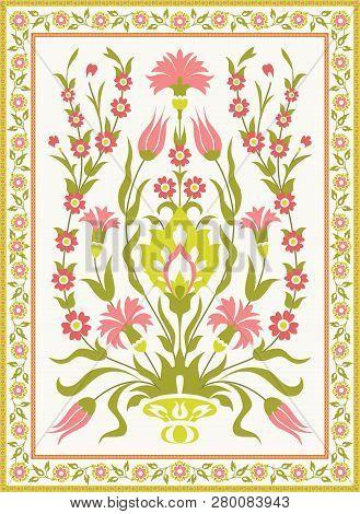 Vintage Floral Design In Ottoman Turkish Style