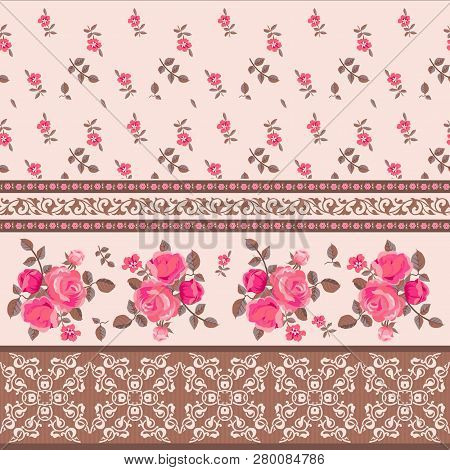 Floral Seamless Pattern. Pink Roses And Ornamental Borders