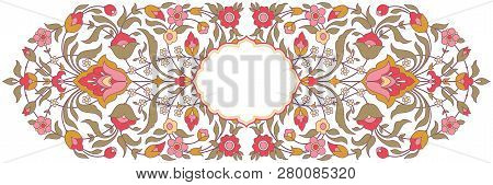 Floral Design In Arabic Style. Traditional Islamic Ornate Frame
