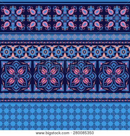 Ornamental Pattern In Dark Blue And Pink