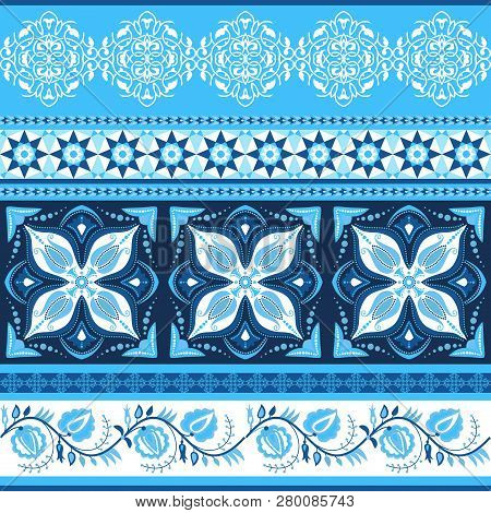Ornate Striped Background. Arabesques, Mosaic Tile And Flowers
