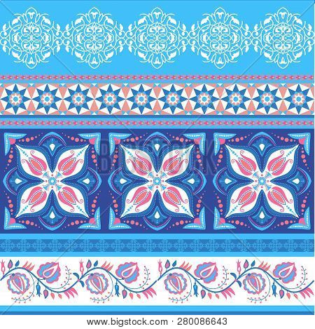 Ornamental Striped Pattern In Red And Blue