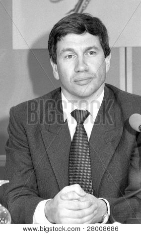 LONDON, ENGLAND - APRIL 10: Michael Portillo, Minister of State for Local Government and Inner Cities, attends a press conference on April 10, 1991 in London. He now has a career in broadcasting.