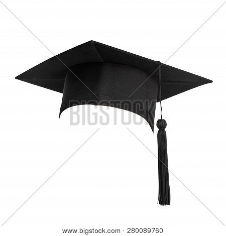 Graduation Hat, Academic Cap Or Mortarboard In Black Isolated On White Background With Clipping Path