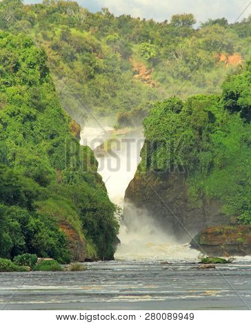 Looking Towards Murchison Falls From The Middle Of The Nile River In Uganda