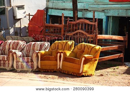 Furniture For Sale Along The Road Side In Kampala, Uganda.