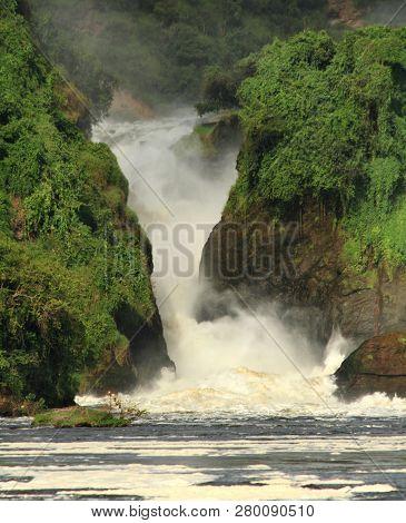 Looking Into The Canyon Falls Of Murchison Falls, In Murchison Falls National Park, Uganda.