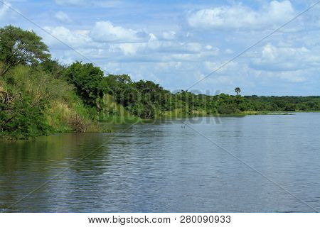 The View Traveling Up The Nile River In Murchison Falls National Park, Uganda, Towards Murchison Fal