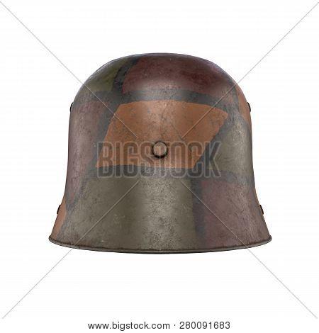 German Helmet Stahlhelm M1916 Of World War I, Used German Troops Ww1. Back View And Camouflage Color