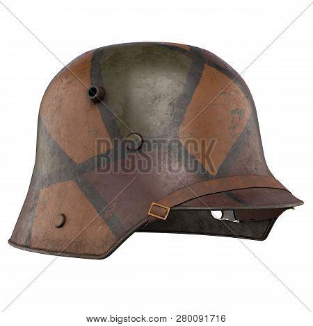 German Helmet Stahlhelm M1916 Of World War I, Used German Troops Ww1. Perspective View And Camouflag