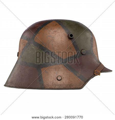 German Helmet Stahlhelm M1916 Of World War I, Used German Troops Ww1. Side View And Camouflage Color