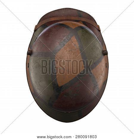German Helmet Stahlhelm M1916 Of World War I, Used German Troops Ww1. Top View And Camouflage Color.