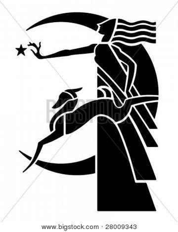 Art Deco Moon Goddess With Dog - Retro Clipart Illustration