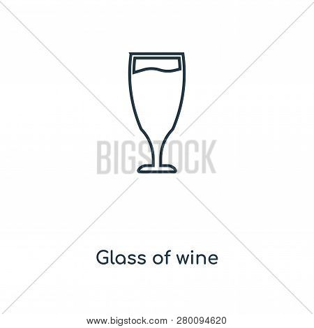 Glass Of Wine Icon In Trendy Design Style. Glass Of Wine Icon Isolated On White Background. Glass Of