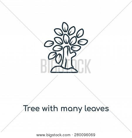 Tree With Many Leaves Icon In Trendy Design Style. Tree With Many Leaves Icon Isolated On White Back