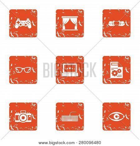 Lense Icons Set. Grunge Set Of 9 Lense Icons For Web Isolated On White Background