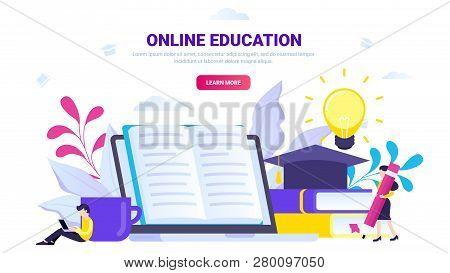 Online Education, Distance Education Vector Illustration. Education Concept For Website, Landing Pag