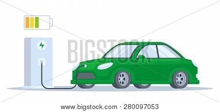 Electric Car Charging Process. Flat Vector Illustration Isolated On White. Charging For Electric Car
