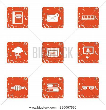 Benchmark Icons Set. Grunge Set Of 9 Benchmark Icons For Web Isolated On White Background