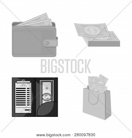 Vector Illustration Of Cash And Currency Logo. Set Of Cash And Stack Stock Vector Illustration.