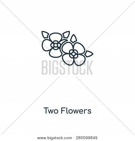 Two Flowers Icon In Trendy Design Style. Two Flowers Icon Isolated On White Background. Two Flowers