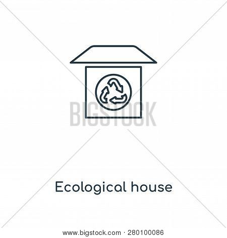 Ecological House Icon In Trendy Design Style. Ecological House Icon Isolated On White Background. Ec