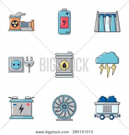 Bioenergy icons set. Cartoon set of 9 bioenergy icons for web isolated on white background poster