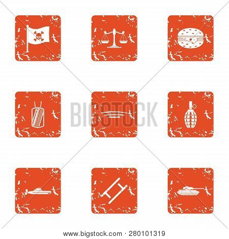 Pirate Law Icons Set. Grunge Set Of 9 Pirate Law Icons For Web Isolated On White Background