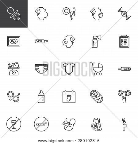 Maternity And Pregnancy Line Icons Set. Linear Style Symbols Collection, Outline Signs Pack. Vector